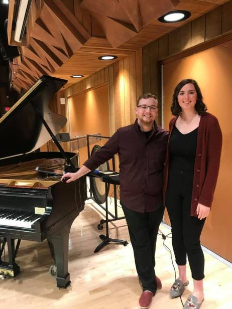 Performance of The Silent Majority (Jerin Fuller, percussion; Emily McPherson, piano) on BGSU's Composers Forum on 11/4/18